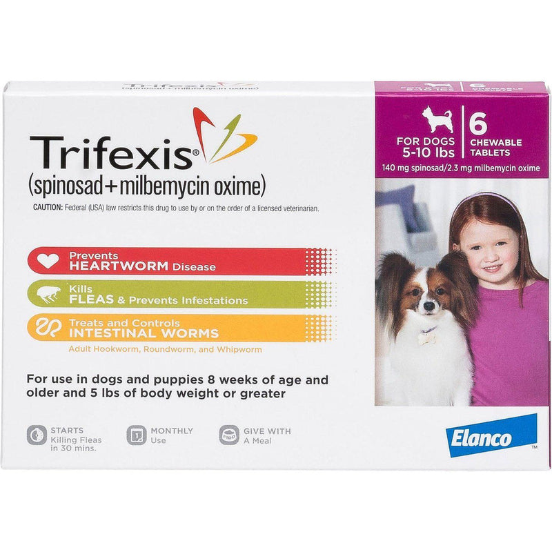 <B>Elanco</B> Trifexis Chewable Tablets for Dogs, 5-10 lbs, Magenta Box, 10-Count Sleeve