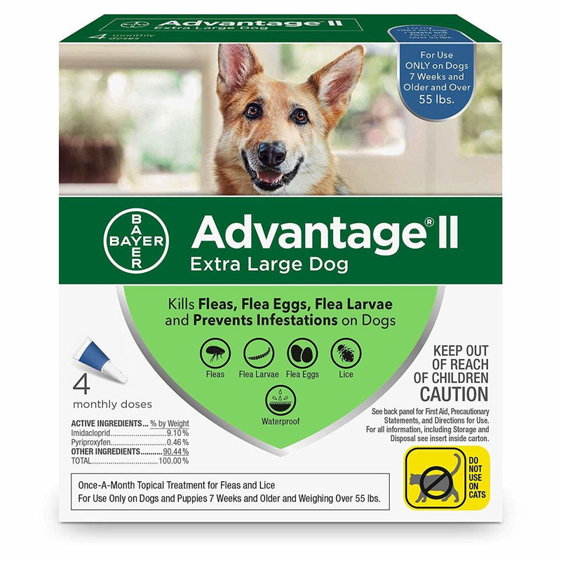<B>Bayer  </B>  Advantage II Extra Large Dog  Over 55  lbs Blue  4 Dose Carton of 6