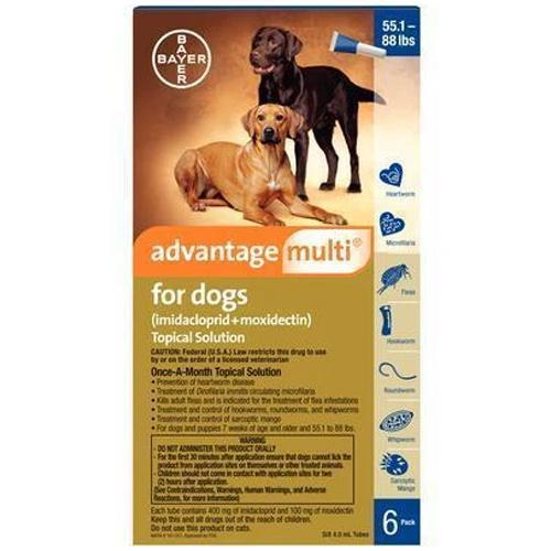 <B>Advantage Multi</B> Topical Solution For Dogs, Blue 55.1-88 lbs, 6 Treatments (12 Pack)