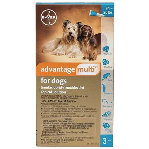 <B>Advantage Multi</B> Topical Solution For Dogs, Teal 9.1-20 lbs, 6 Treatments (12 Pack)
