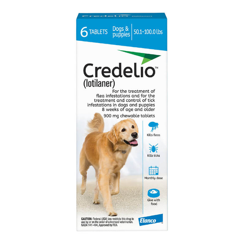 <B>Elanco</B> Credelio Tablets for Dogs, 50.1-100 lbs, Blue Box, 6 Treatments (Pack of 10)