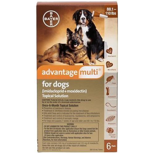 <B>Advantage Multi</B> Topical Solution For Dogs, Brown 88.1-110 lbs, 6 Treatments (12 Pack)