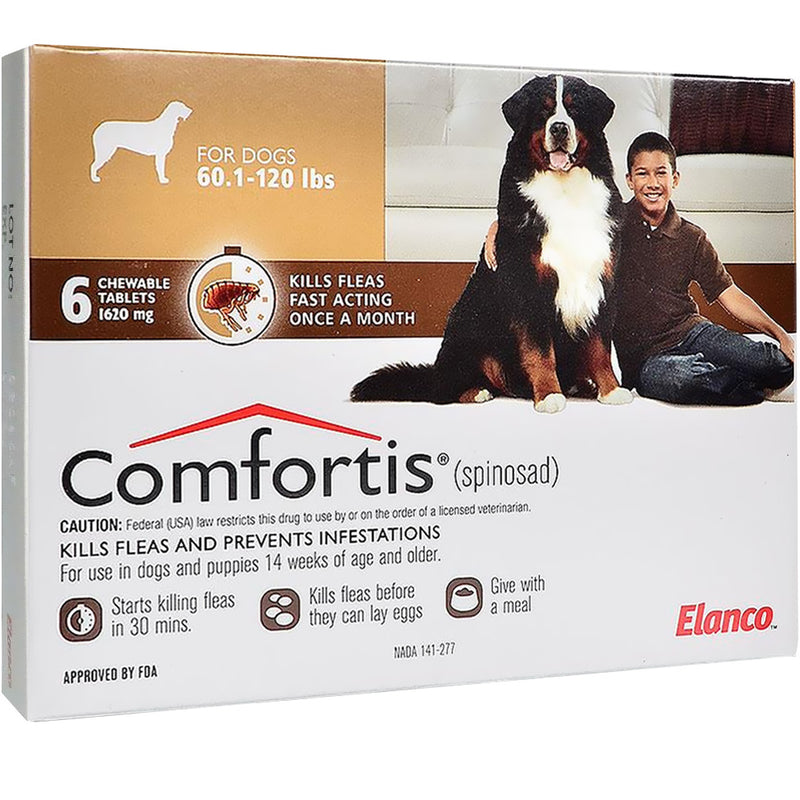 <B>Comfortis</B> Tablets for Dogs 60.1 to 120 Pounds, Brown Label (6 Dose x 10)