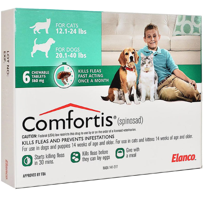 <B>Comfortis</B> Tablets for Dogs 12.1 to 24 Pounds, Green  Label (6 Dose x 10) DATING 1-31-2022