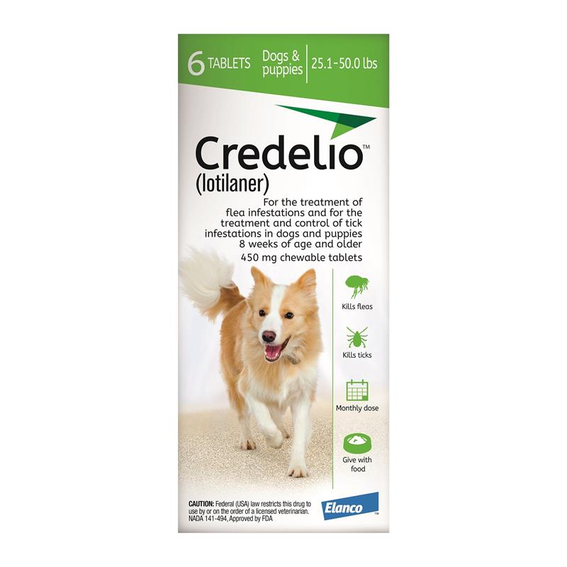 <B>Elanco</B> Credelio Tablets for Dogs, 25.1-50 lbs, Green Box, 6 Treatments (Pack of 10)