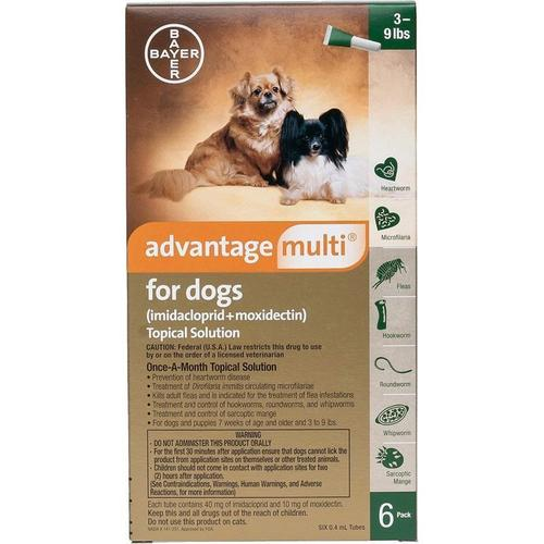 <B>Bayer </B>Advantage Multi</B> Topical Solution For Dogs, Green 3-9 lbs, 6 Treatments (12 Pack)
