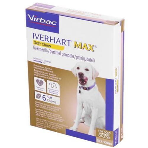 <B>Iverhart Max</B> Soft Chew 50.1-100 lbs, 6 Treatment, Brown Box (Carton of 10)