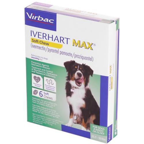 <B>Iverhart Max</B> Soft Chew 25.1-50 lbs, 6 Treatment, Green Box (Carton of 10)
