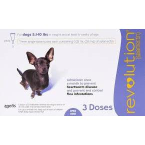 <B>Revolution</B> Topical Solution for Dogs, 5.1-10 lbs, Purple Box, 3-Dose(Singles)