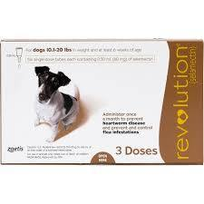 <B>Revolution</B> Topical Solution for Dogs, 10.1-20 lbs, Brown Box, 3-Dose (Singles)