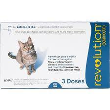 <B>Revolution</B> Topical Solution for Cats, 5.1-15 lbs, Blue Box, 3-Dose(Singles)