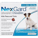 <B>NexGard</B> Chewable Tablets for Dogs, 10.1-24 lbs, 3 Treatments, Blue Box (Carton of 10)