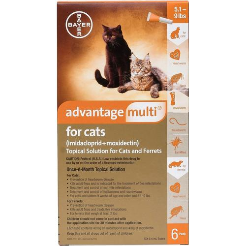 <B>Advantage Multi</B> Topical Solution For Cats, Orange 5-9.1 lbs, 6 Treatments (12 Pack)