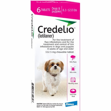 <B>Elanco</B> Credelio Tablets for Dogs, 6.1-12 lbs, Pink Box, 6 Treatments (Pack of 10)