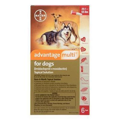 <B>Advantage Multi</B> Topical Solution For Dogs, Red 20.1-55 lbs, 6 Treatments (12 Pack)