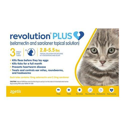 <B>Revolution Plus</B> Topical Solution for Cats, 2.8-5.5 lbs, Gold Box, 3-Dose (Singles)