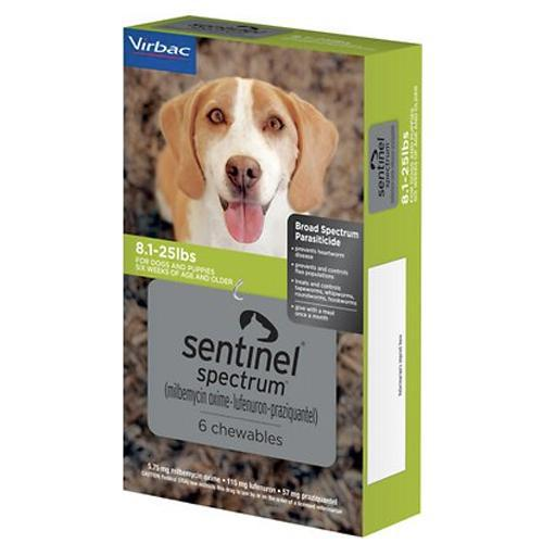<B>Sentinel Spectrum</B> Chewable Tablets for Dogs, 8.1-25 lbs, Green Box, 6 Treatments (Sleeve of 5) DATING 7-31-2021