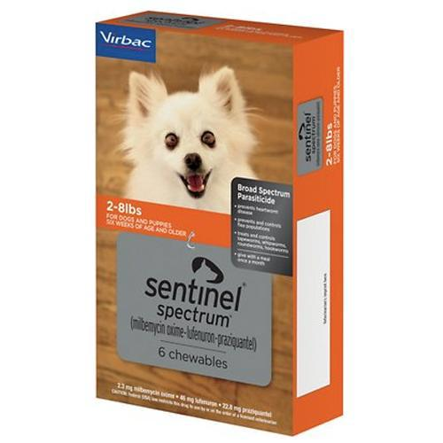 <B>Sentinel Spectrum</B> Chewable Tablets for Dogs, 2-8 lbs, Orange Box, 6 Treatments (Sleeve of 5)