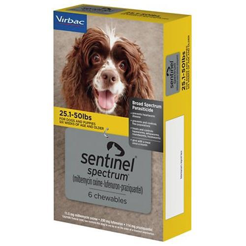 <B>Sentinel Spectrum</B> Chewable Tablets for Dogs, 25.1-50 lbs, Yellow Box, 6 Treatments (Sleeve of 5)