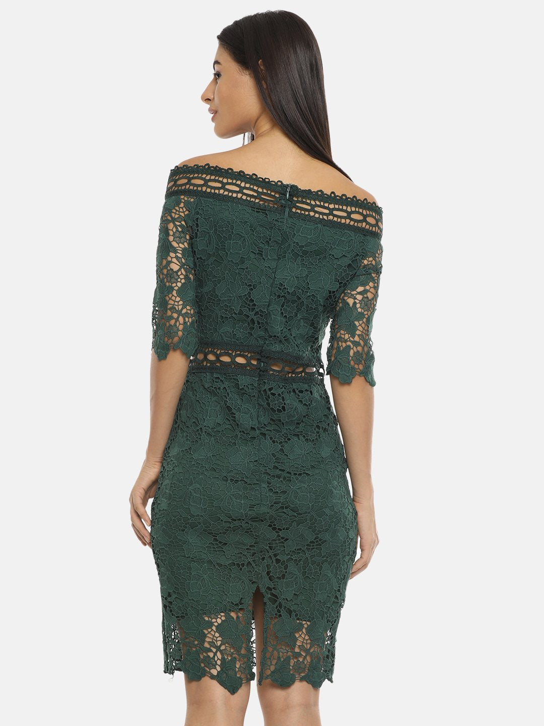 IS.U Green Off-Shoulder Dress