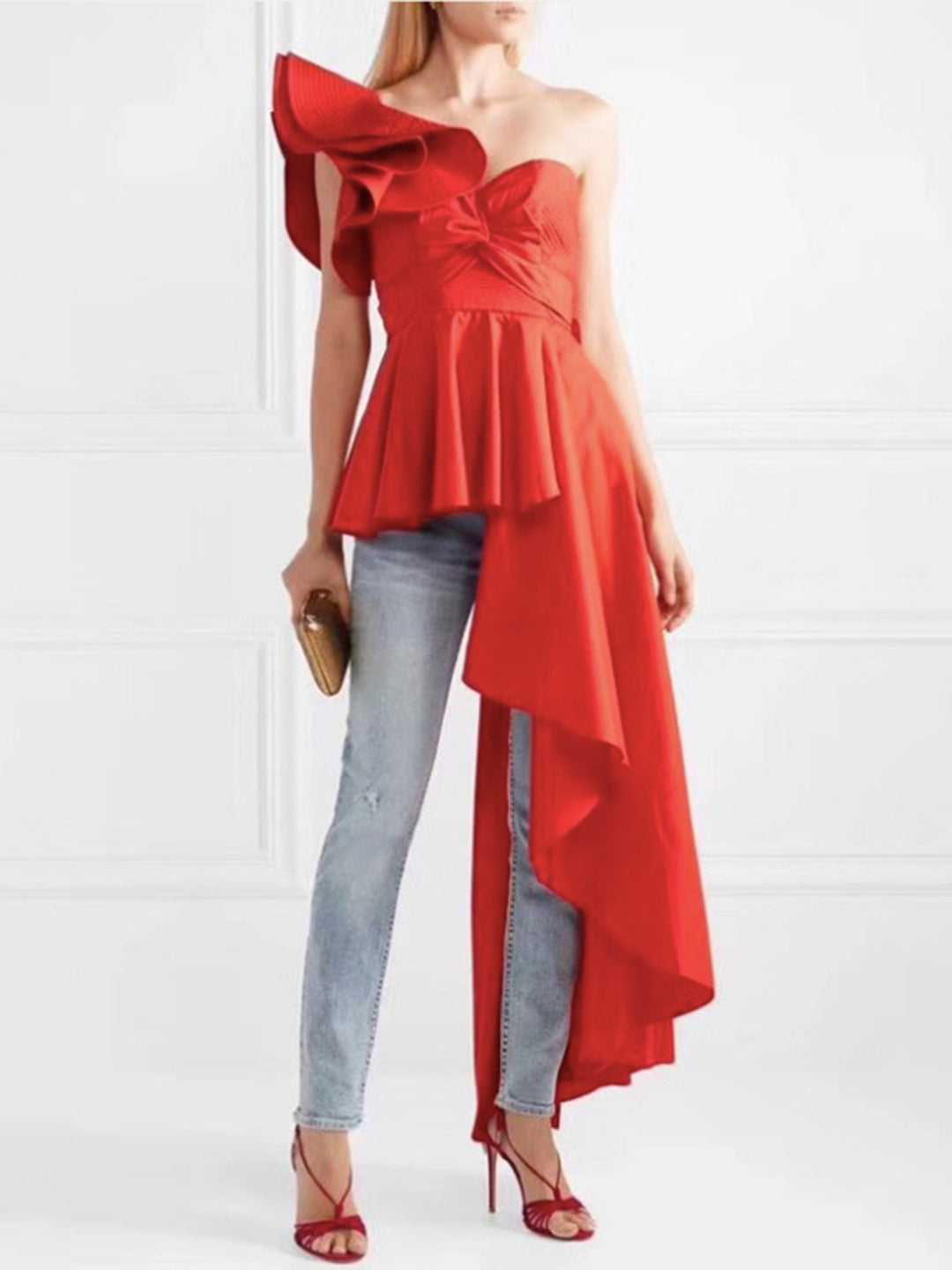 Khloe One Shoulder Ruffled Top