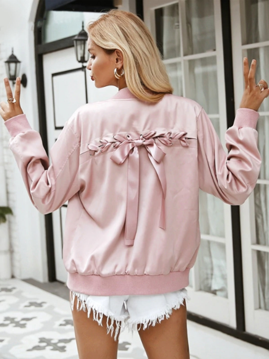 Rihana Satin Lace-up Bomber