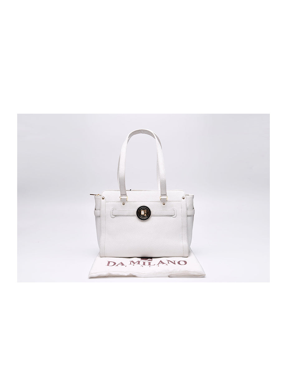 Da Milano White Shoulder Bag With Dust Bag
