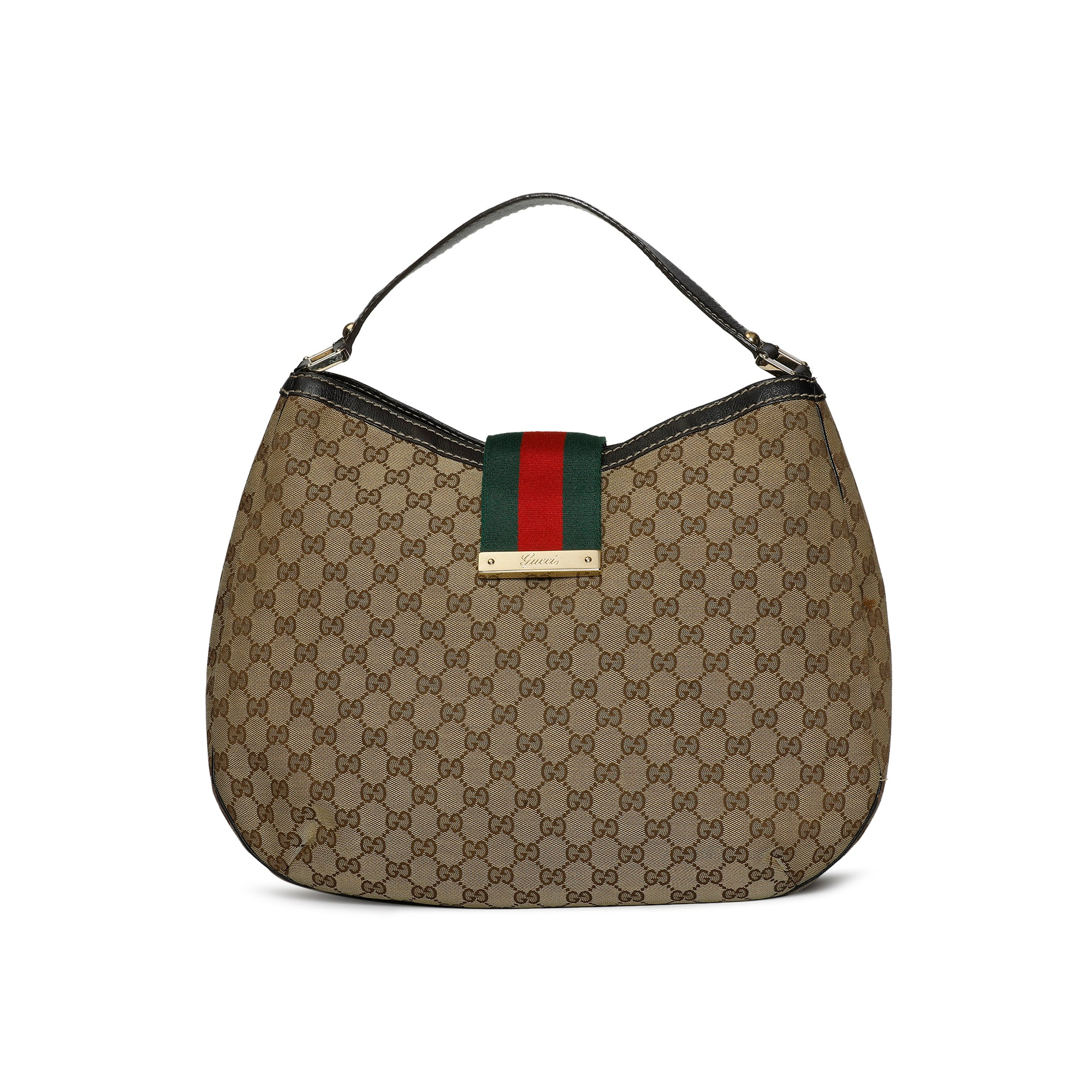 Gucci Ladies Web Brown Hobo Bag