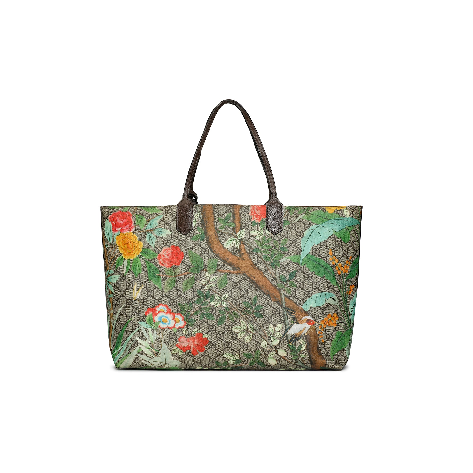 Gucci Shopping Tote Tian Print GG Coated Canvas Large