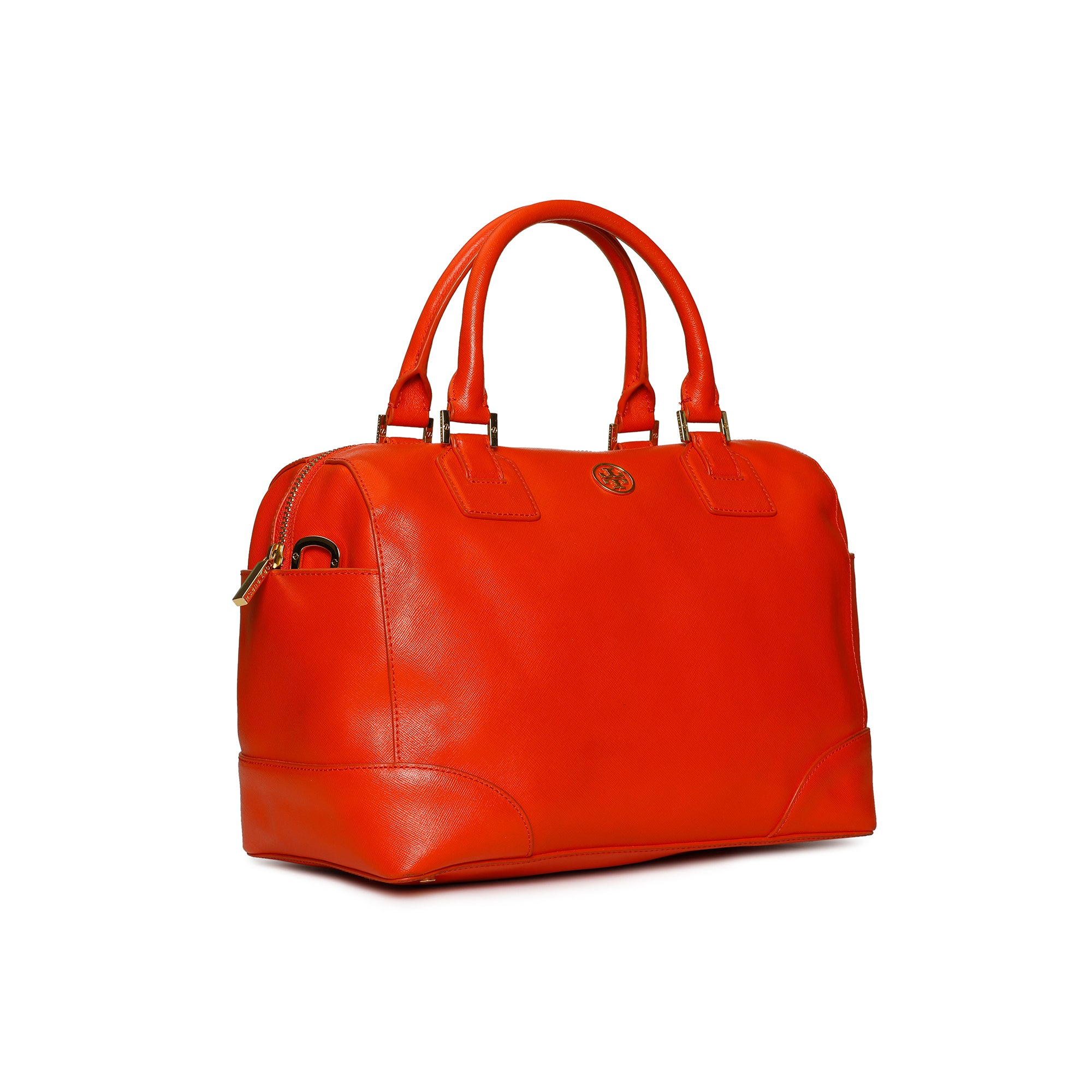 Tory Burch Robinson Speedy Satchel Orange Leather Shoulder Bag