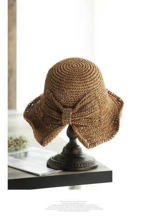 Handmade straw visor bow folding straw hat