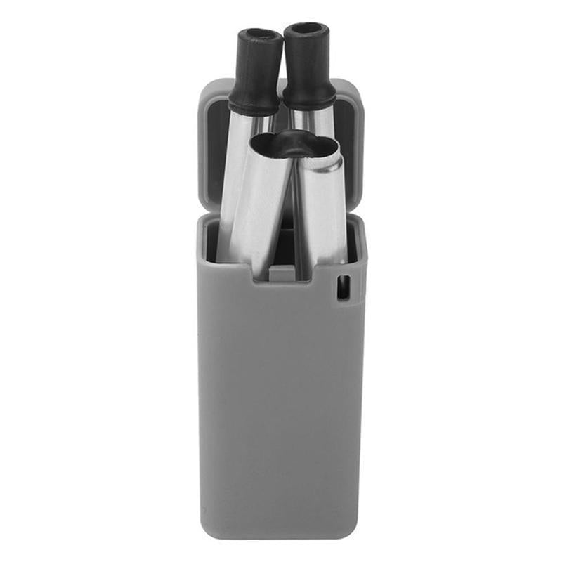 Portable Folding Reusable Stainless Steel Metal Drinking Straw with Storage Case