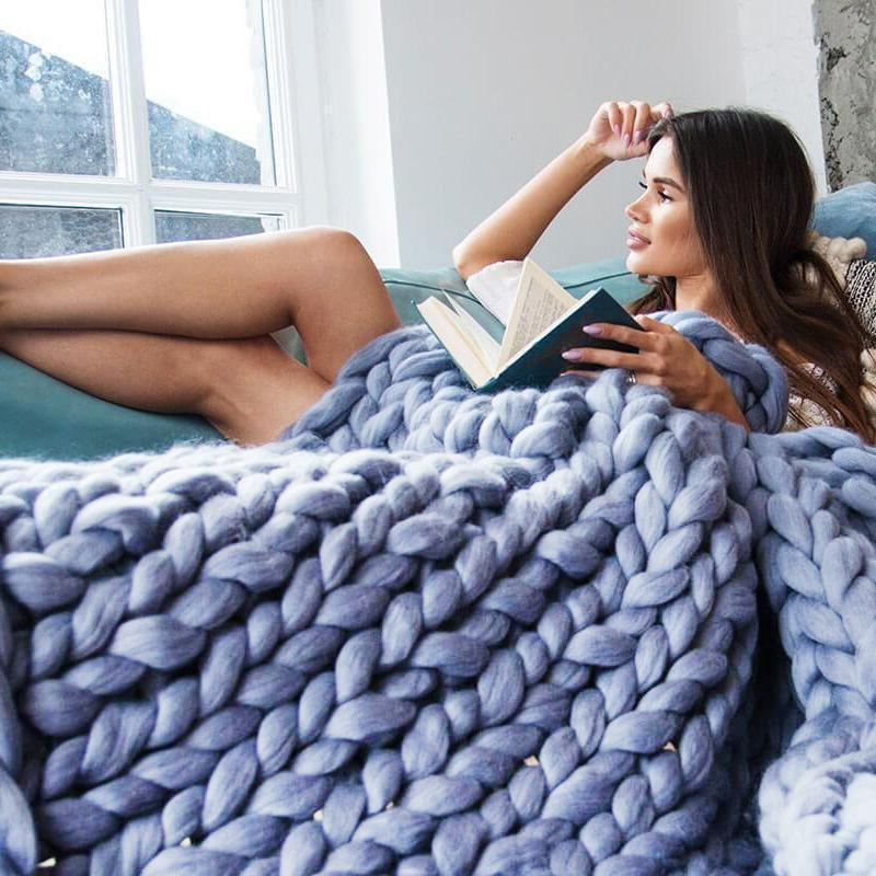 Inspire Uplift Home & Kitchen 79x79 Inches / Baby Blue Handmade Chunky Knit Blanket
