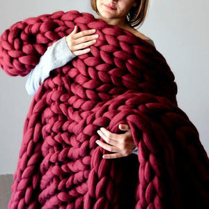 Inspire Uplift Home & Kitchen 79x79 Inches / Burgundy Handmade Chunky Knit Blanket
