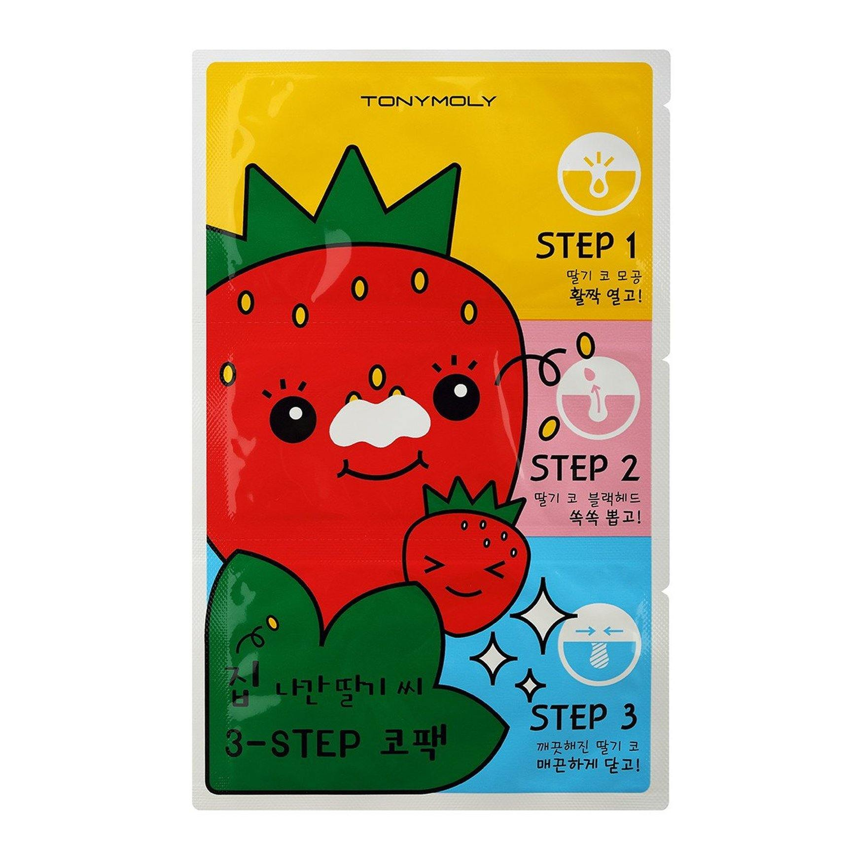 TONYMOLY Runaway Strawberry Seeds 3 Step Nose Pack - Peel Off Nose Strip ¦ Blackhead removal | Korean Skin Care