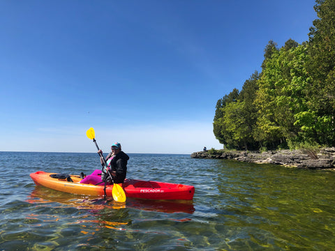 Milissa Kayaking Cave Point- Door County, WI