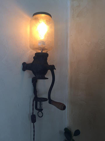 Customer's Coffee Grinder Turned Into A Lamp