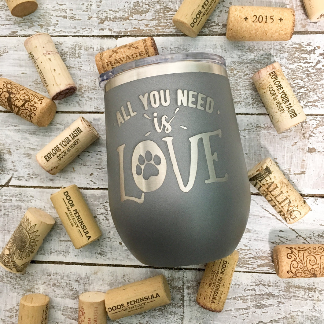 Wine Tumbler, Engraved Cup- Animal Lover