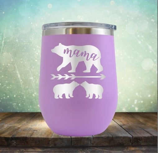 Wine Tumbler, Engraved Cup- Mama Bear