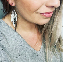 Load image into Gallery viewer, GS- White Leather Earrings