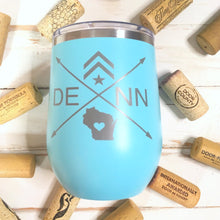 Load image into Gallery viewer, Wine Tumbler, Engraved Cup- DENN (Teal)