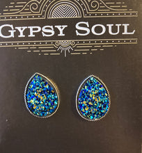 Load image into Gallery viewer, GS- Geode Teardrop Studs, Peacock