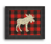 Load image into Gallery viewer, Plaid Moose Printed on Book Page (8x10)
