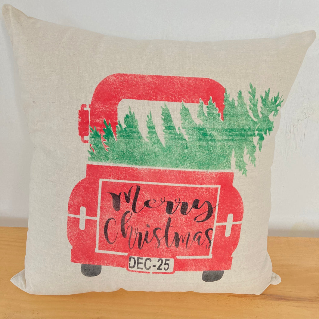 Pillow- Red Christmas Truck