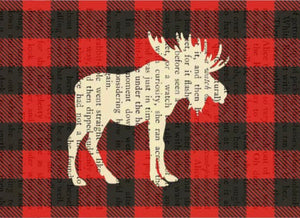 Plaid Moose Printed on Book Page (8x10)