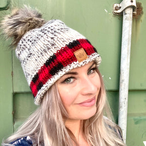 Beanie Hat- Oatmeal & Plaid