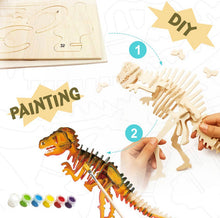 Load image into Gallery viewer, 3D Wood Puzzle Paint Kit- Dinosaur