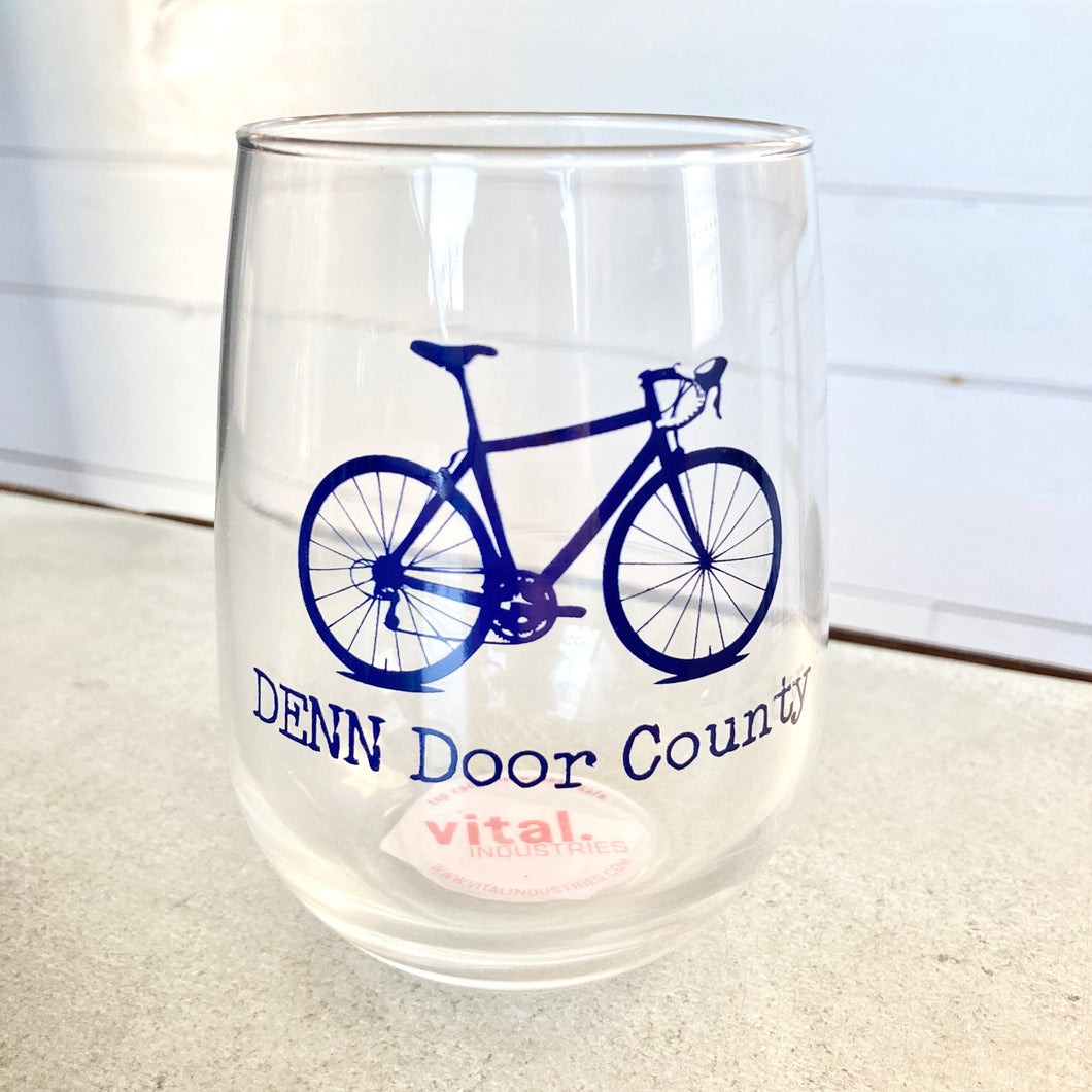 DENN Bicycle Wine Glass- Navy