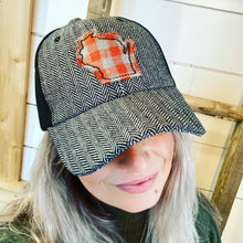 Load image into Gallery viewer, WI Hat- B&W, Red Plaid