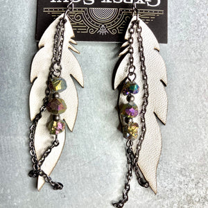 GS- White Leather Earrings